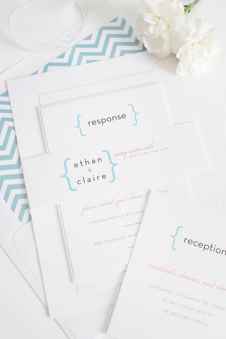 deer hunter wedding invitations%0A Modern Math Wedding Invitations in Rose and Sky Blue