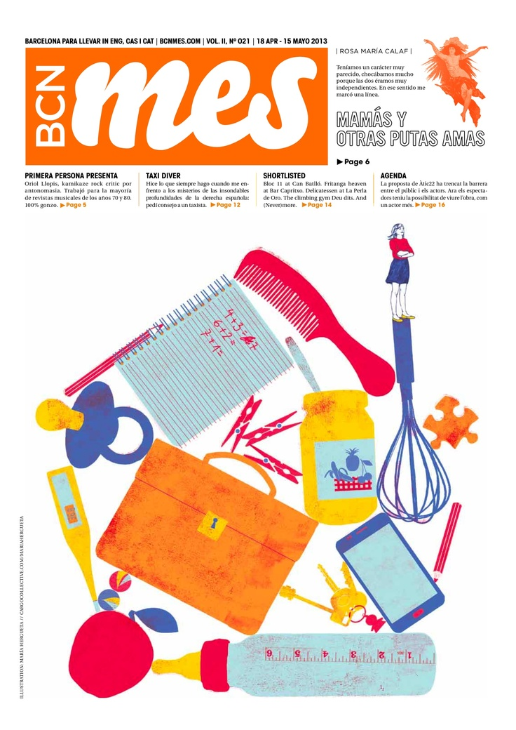 cover/portada de la edición de BCN Mes de abril de 2013 (Barcelona's alternative cultural newspaper). Illustration by María Hergueta (www.cargocollective.com/mariahergueta).