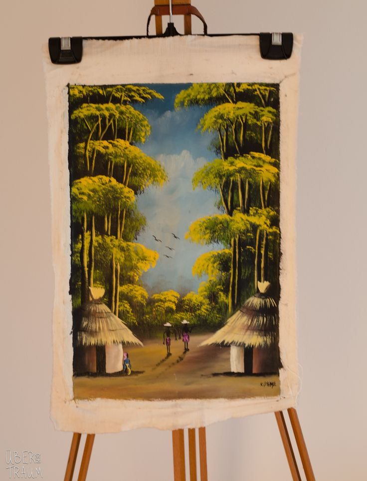 'Village and Canopy' - Zambian Oil Painting - Über den Traum