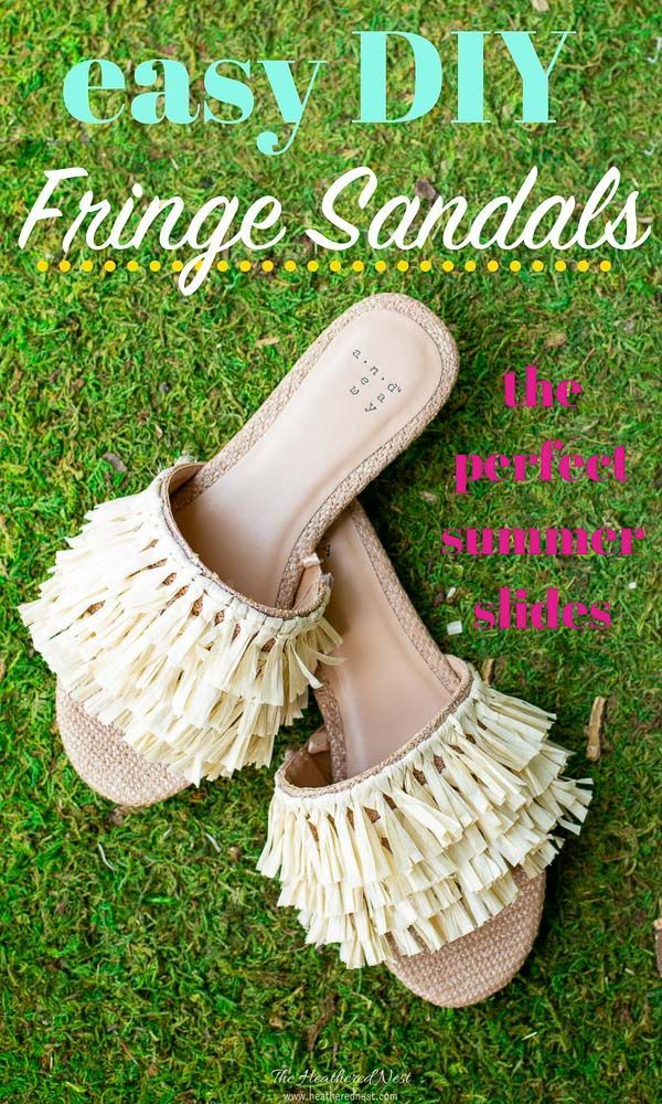 33263d7133b8 HOW CUTE are these beach sandals! Make these easy DIY embellished slides in  about 30 minutes! Perfect fringe sandals for summer!