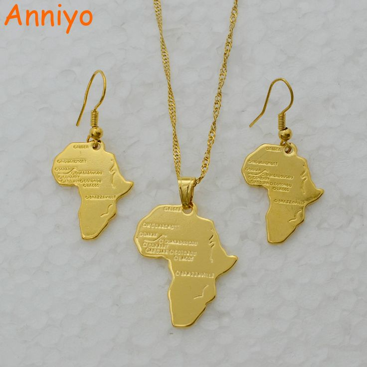 Anniyo Africa Map Jewelry set Necklace & Earrings Gold Color Map of African,Ethiopian/Nigeria/Sudan/Congo Necklace #047006 #Affiliate