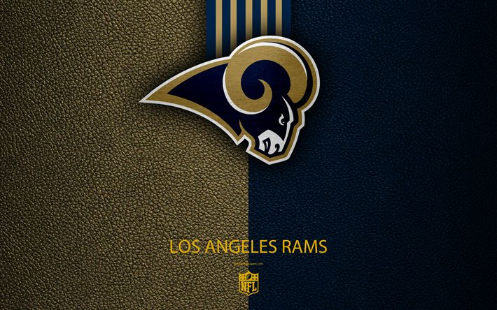 Download wallpapers Los Angeles Rams, 4k, american football, logo, leather texture, Los Angeles, California, USA, emblem, NFL, National Football League, Western Division