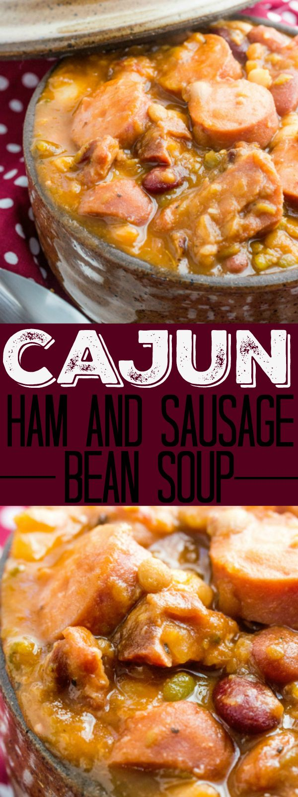 Warm up with this Cajun Ham and Sausage Bean Soup! Spicy, meaty and delicious this is one soup that will fill you up just on looks alone! I love soup! And it doesn't necessarily have to be just around the winter time either. I'm a soup and chili gal all[Read m
