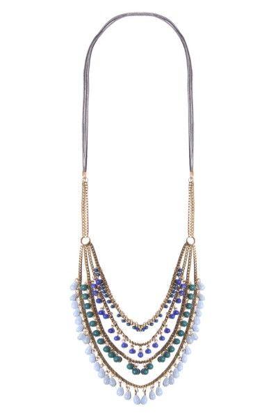 Blauwe kralen ketting *Goudkleurige ketting met kralen in blauw,groen en wit.  Iedere outfit maak je hiermee compleet en uniek bijzonder.  Ibiza/Boho-style  50% metaal 50% glas