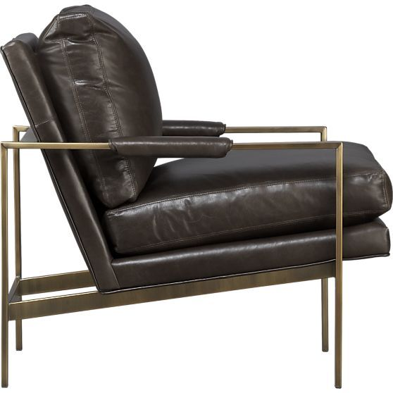 Milo Classic Leather Brass Lounge Chair in Chairs | Crate and Barrel. comes in other colors