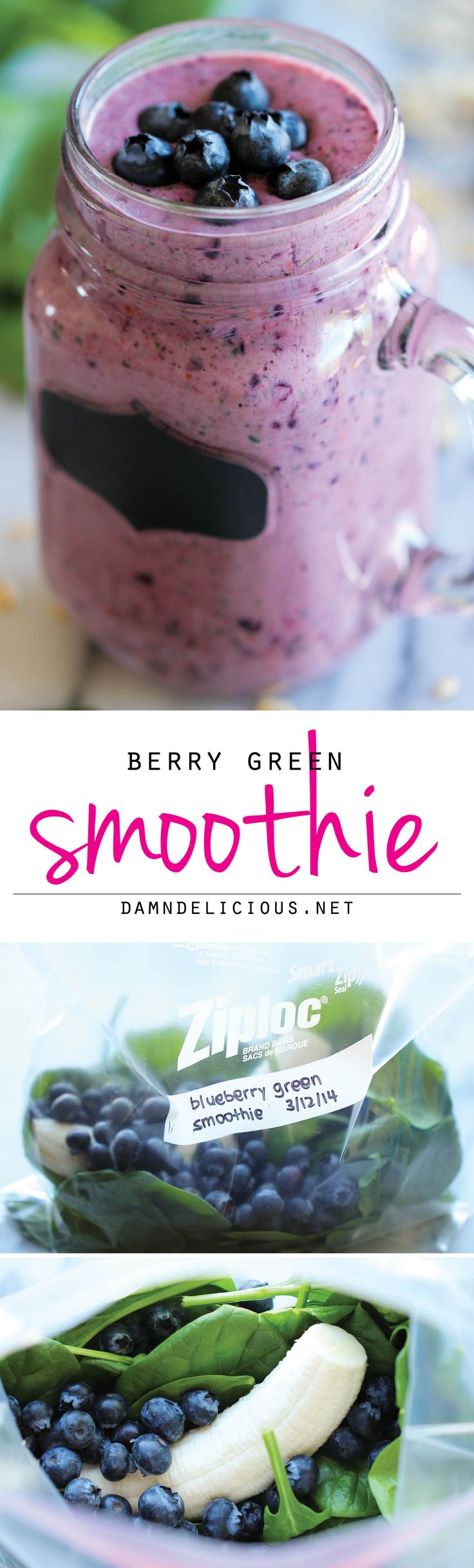 Berry Green Smoothie - Make-ahead freezer friendly smoothies that are healthy. I will use AGAVE or HONEY, instead of sugar and ALMOND Milk