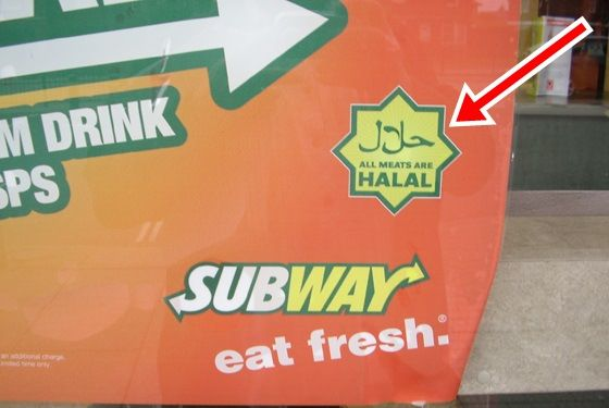 "Subway Turns ""Halal,""to appease Muslims. Subway may need to change their motto from ""eat fresh"" & ""eat halal"" after Muslim customers were outraged by the food chain's selection, demanding a more Islam-friendly menu.185 outlets in the UK and Ireland have already complied with angry Muslims, removing all pork products from their restaurants including bacon & ham, two staples for many Subway sandwiches. Coming soon to a Subway near you? Insanity!. I will NOT buy from Subway! BOYCOTT!!"