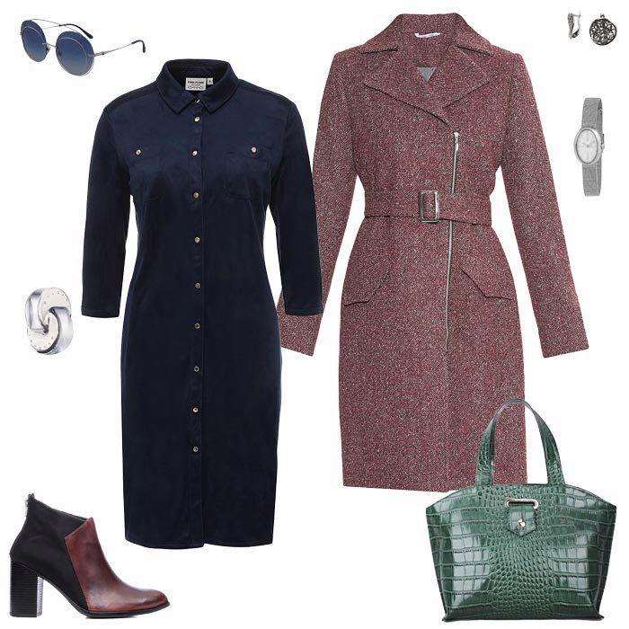 Вишневое платье, синее пальто, зеленая сумка, бордовые ботильоны