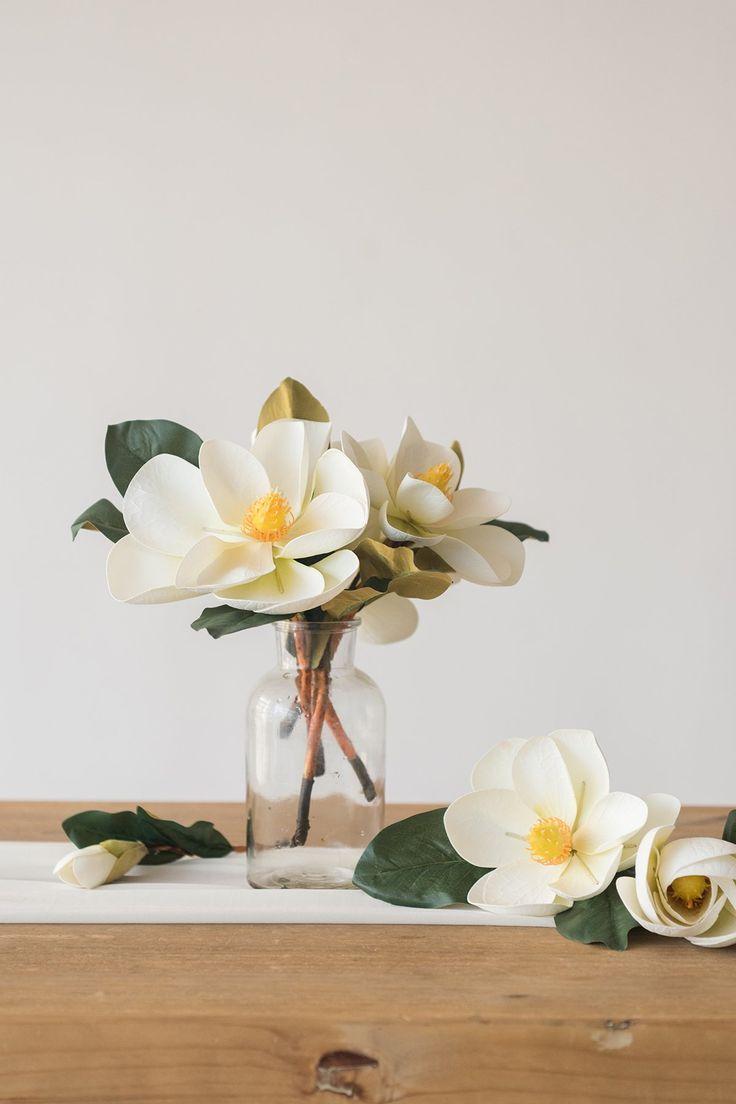 Artificial Magnolia Flower Blooms With Stem Pack Of 6 Flower Vase Arrangements Magnolia Flower Magnolia Centerpiece