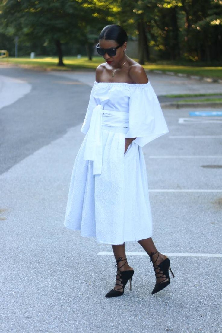 DIY Off the shoulder top and midi with free pattern download – Beaute' J'adore