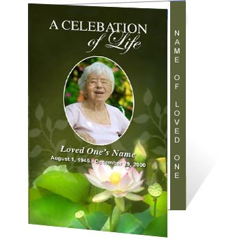 AO Lotus 2  Page Graduated Program Template Has An Beautiful Lotus Flower  Sits Gracefully At. Memorial CardsDesign ...