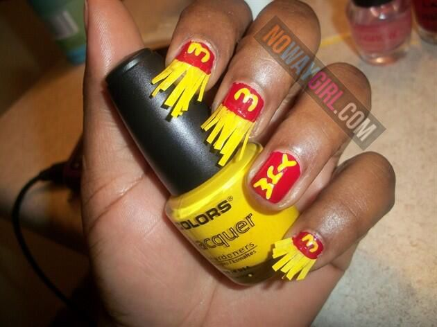 Ghetto McDonalds French Fries Nail Design - NoWayGirl