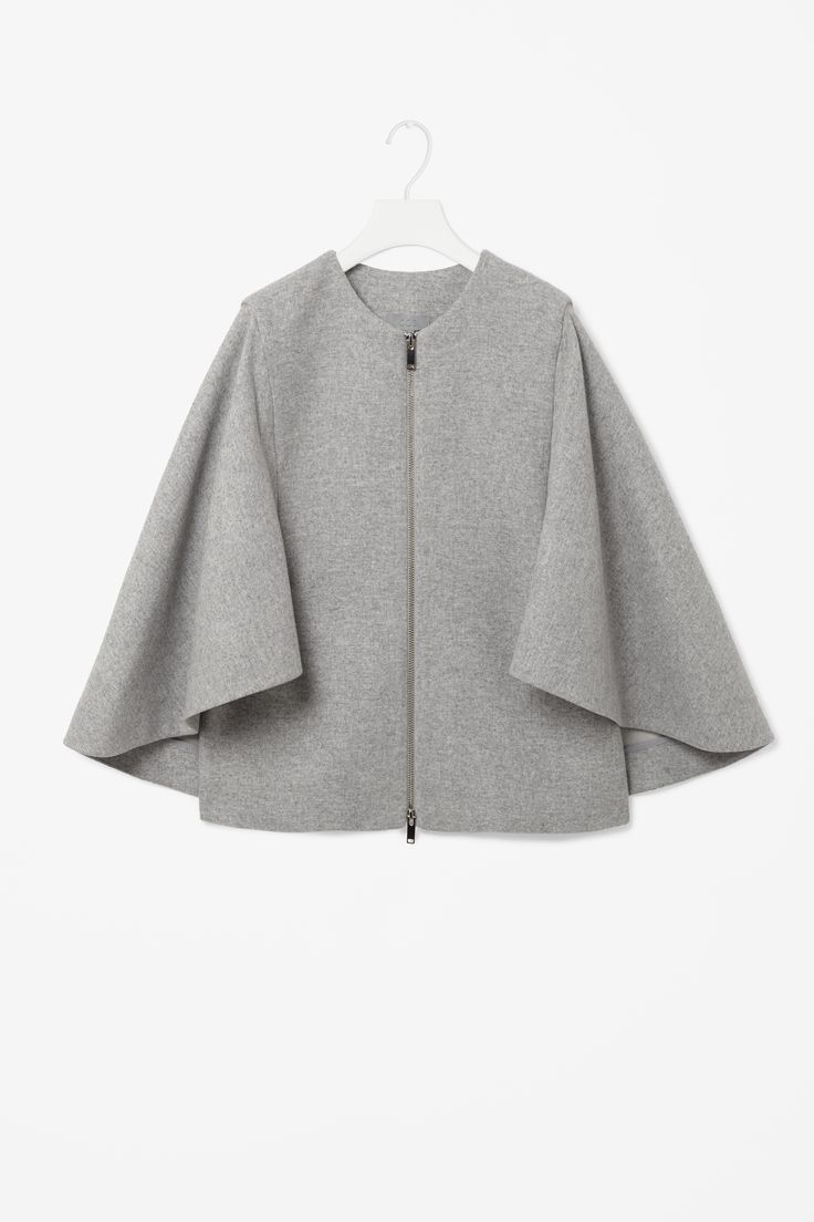 Caped zip-up blazer