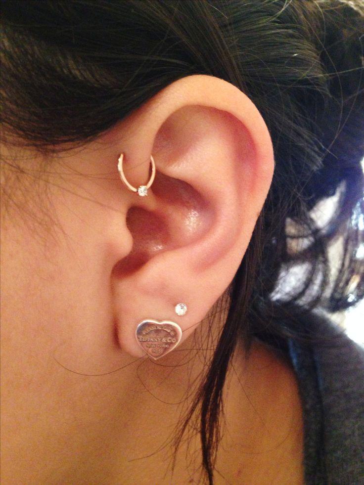 Earrings. Ear piercings. Rose gold. Forward helix. Tiffany's. Obsessed.