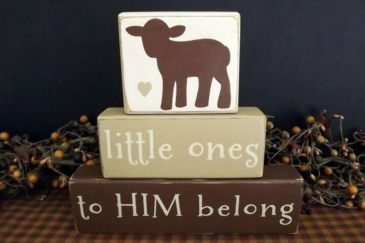 Little Ones to HIM Belong Nursery Lamb Children's Name Wood Blocks. $22.00, via Etsy.