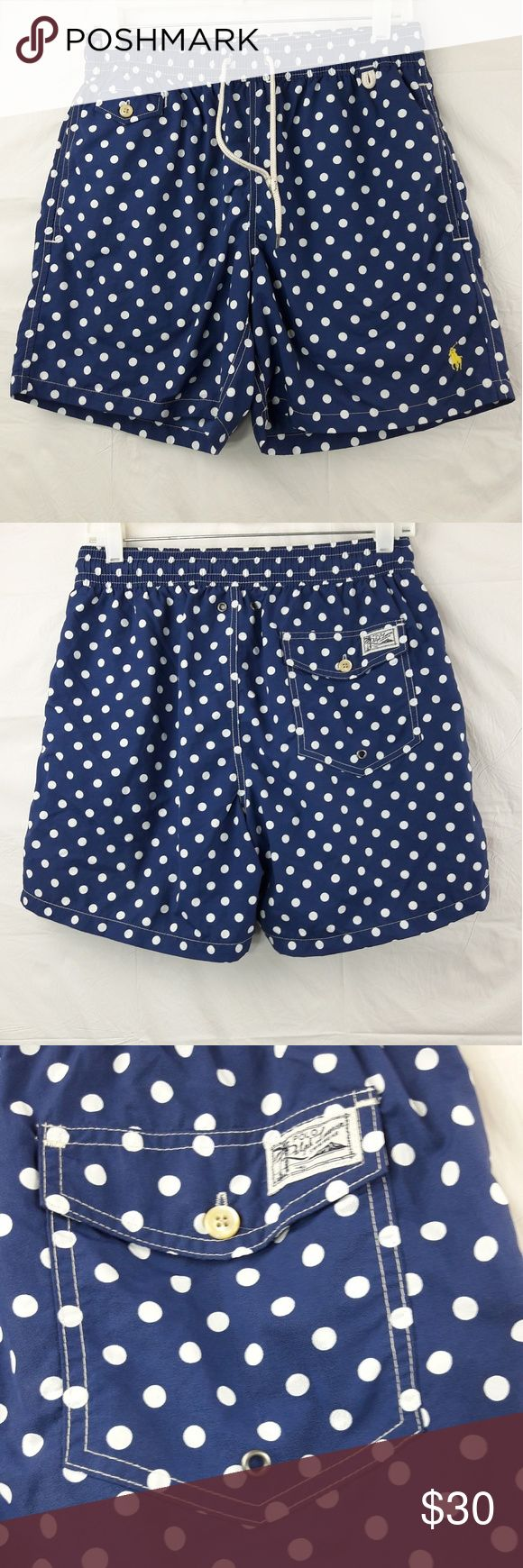 """Ralph Lauren Polka Swim Shorts Ralph Lauren Men's Small Blue Polka Dot Traveler Swim Shorts  Length:15.5"""" Waist:14"""" Inseam:6""""  Gently used with no flaws. Please see photos for exact details. Thank you for patronizing us. Ralph Lauren Swim Swim Trunks"""