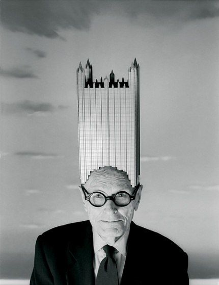 In a send-up of the 1931 Beaux Arts ball—at which leading architects personified the Manhattan skyline—Philip Johnson wore a replica of his famous 1984 Pittsburgh landmark, the PPG Building. By Josef Astor, 1996; costume designed and constructed by Joseph Hutchins & Company N.Y.C.; Vanity Fair, July 1996; © Josef Astor, 1996.