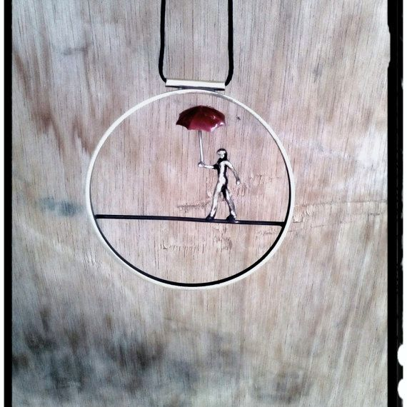 Circle Minimal Necklace Acrobat Figure With by pepeyoyojewellery