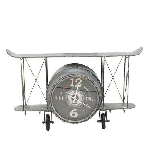 METALLIC TABLE CLOCK 'PLANE' IN GREY COLOR 70X23X45