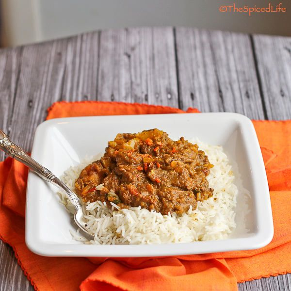 West Indian Goat Curry made with beef, sweet potatoes and coconut milk
