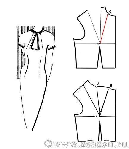 Клуб любителей шитья Сезон - сайт, где Вы можете узнать все о шитье - Перевод вытачки в горловину
