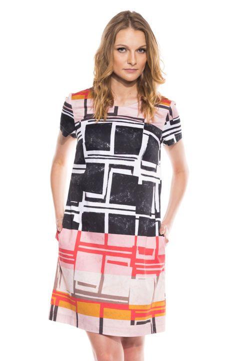 Bawełniana sukienka w geometryczne wzory