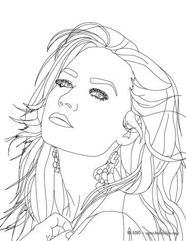 Demi Lovato Close Up Coloring Page More Sheets On Hellokids