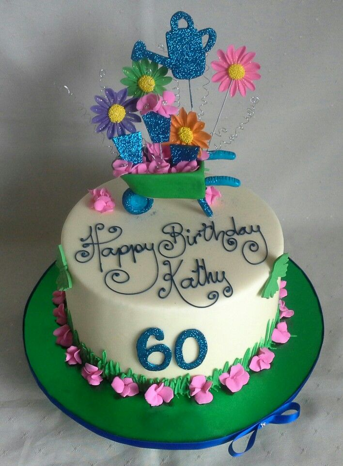 Garden themed 60th birthday cake created by MJ www.mjscakes.co.nz in sunny Hawkes Bay NZ delivered to Off the Track Restaurant in Havelock North Hawkes Bay