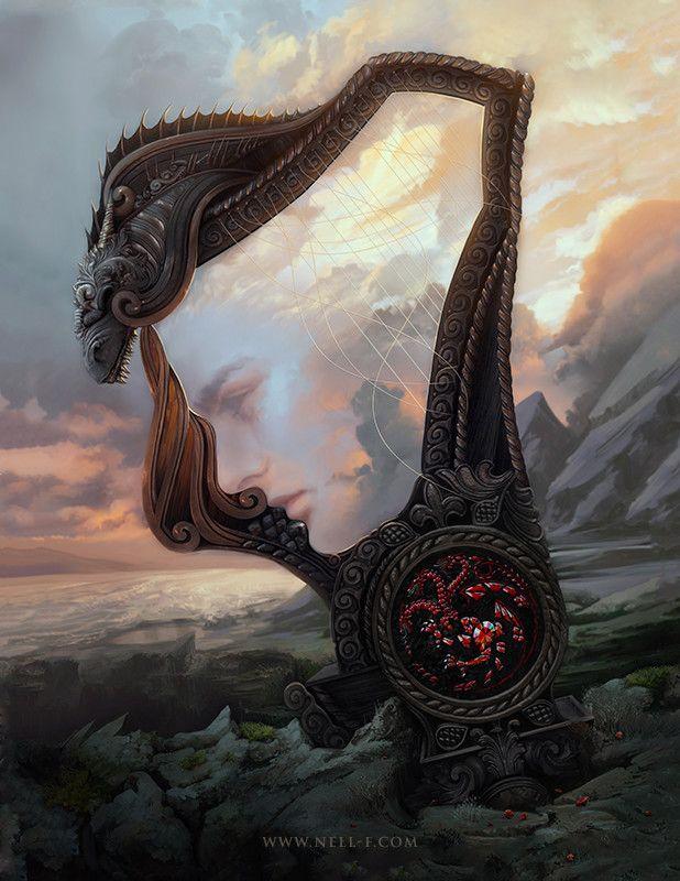 Breathtakingly Beautiful Digital Illustration of Rhaegar Targaryen by Nell Fallcard Recommended: Awesome GOT Merchandise Here