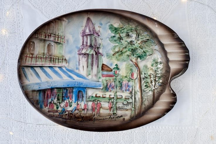 Vintage retro hand painted embossed ceramic glazed Paris ashtray by Renee - dish - French - France - mid-century - Saint Germain des Pres by freshdarling on Etsy