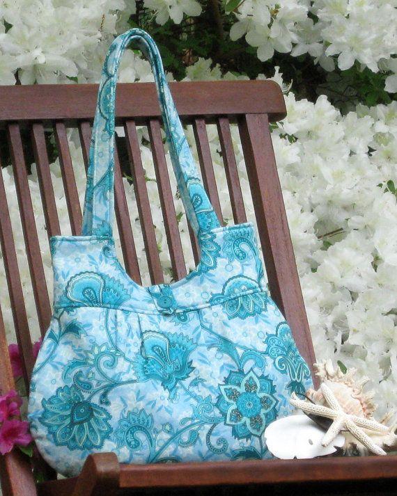 Verde azulado claro flores bolso de impresión