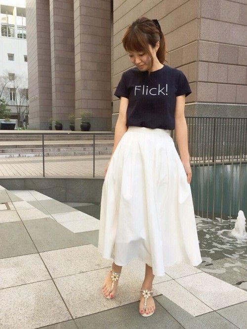RANDA 本社|kumemiさんのスカート「ミモレ丈タックフレアスカート(RANDA|ランダ)」を使ったコーディネート