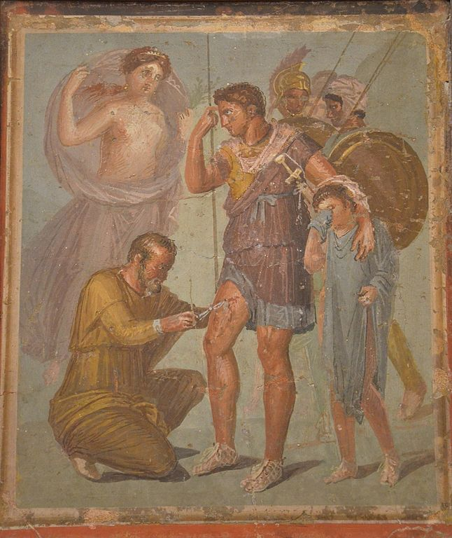 The Six Weirdest Ancient Roman Ideas About The Human Body. Fresco depicting Iapyx removing an arrowhead from Aeneas' thigh. Pompeii. (Image by C. Raddato, used under a CC-BY-SA 2.0 license, via wikimedia commons)