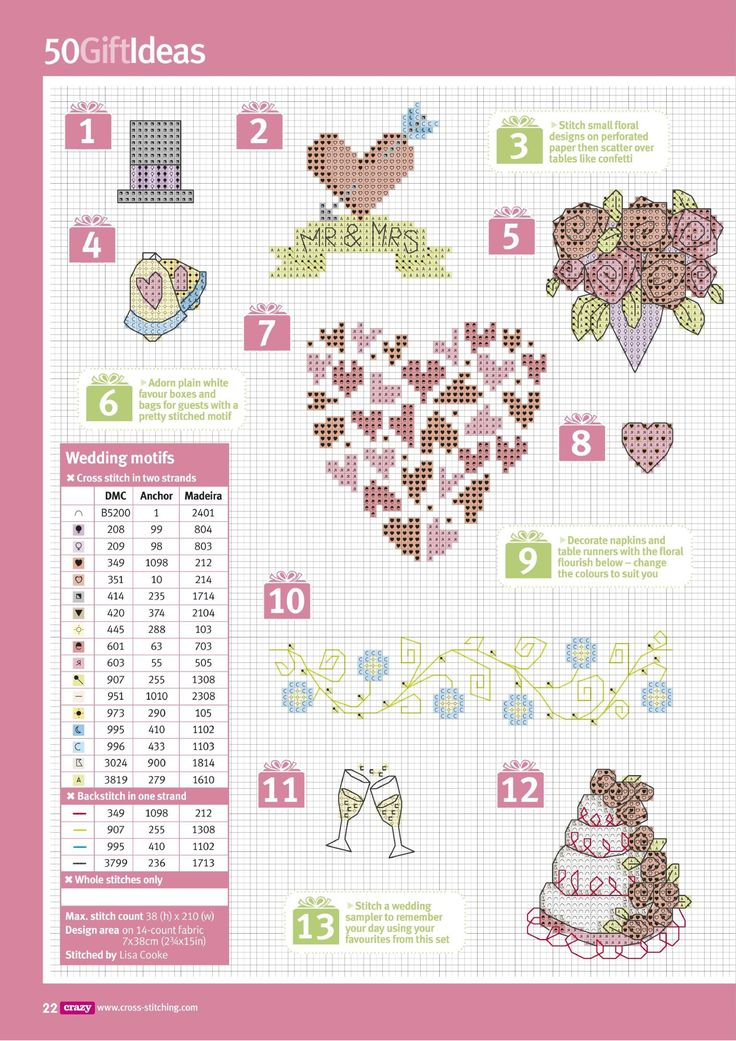 wedding motifs: see previous pages for cute finishing ideas