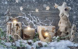 merry christmas happy new year vintage decoration christmas new year decoration snow candles