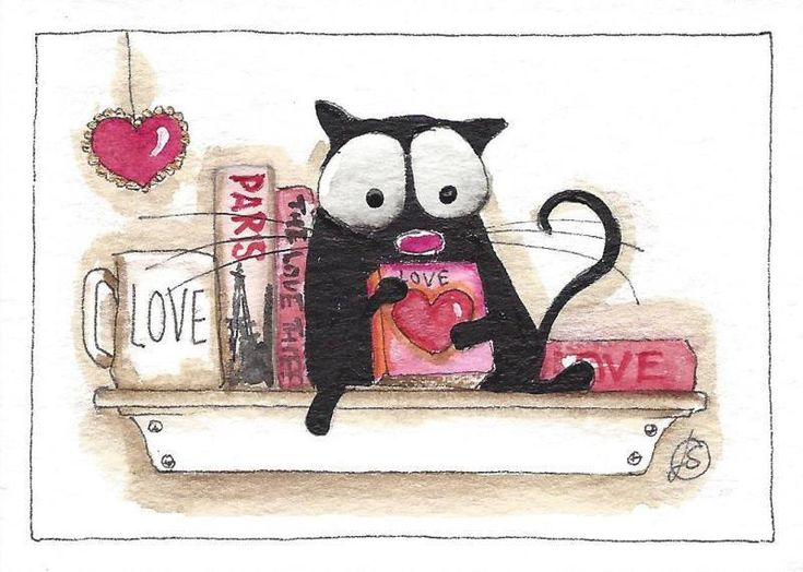 ACEO Original watercolor painting black fat cat Valentines day shelf book heart #IllustrationArt
