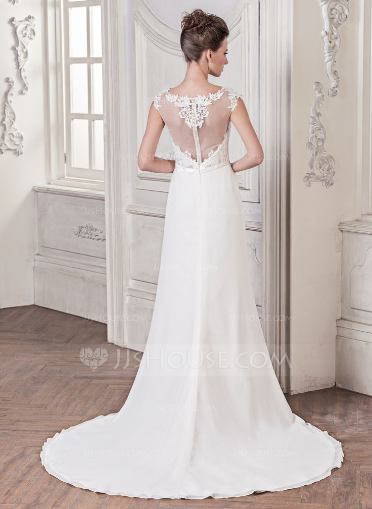 Trumpet/Mermaid Scoop Neck Court Train Chiffon Tulle Charmeuse Wedding Dress With Appliques Lace Bow(s) (002058761) - JJsHouse