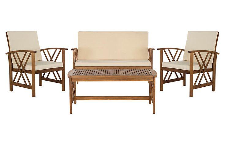 Fontana 4-Pc Outdoor Set - Teak | Patio furniture sets ... on Fontana 4 Pc Outdoor Set id=96898