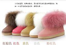 Новое поступление ребенок снегоступы девушки зимняя обувь водонепроницаемый Fayx лисий мех снегоступы осень и зима дети плоские ботинки(China (Mainland))