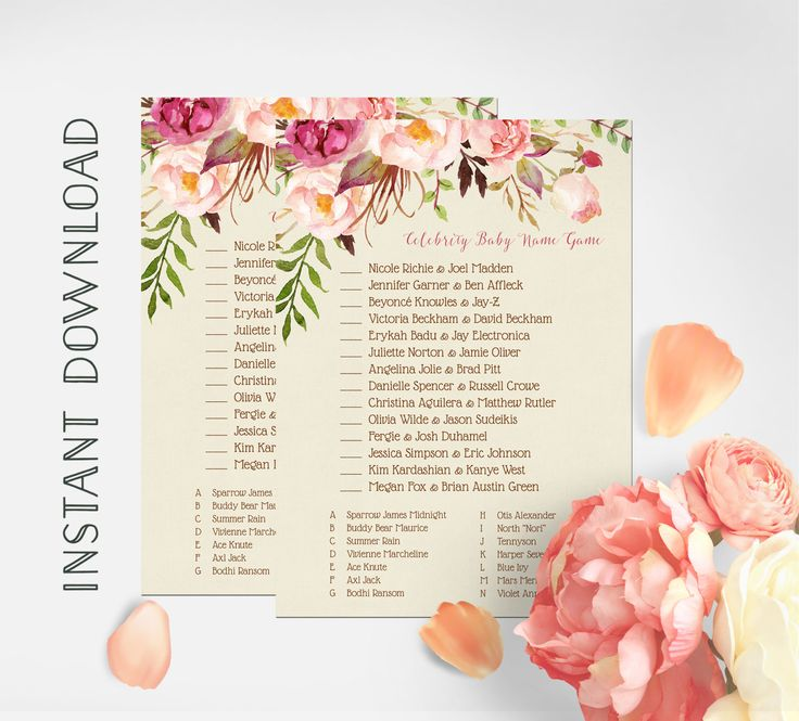 Victoria Beckham Baby Shower Part - 38: Baby Shower Game, Celebrity Baby Name Game, Shabby Chic Baby Shower Game,  Boho