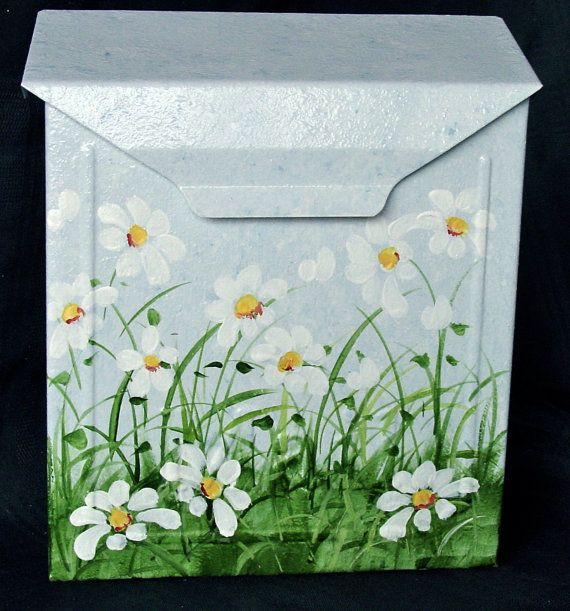 hand painted mailbox designs. hand painted mailbox with white daisies on a by dancingbrushes designs
