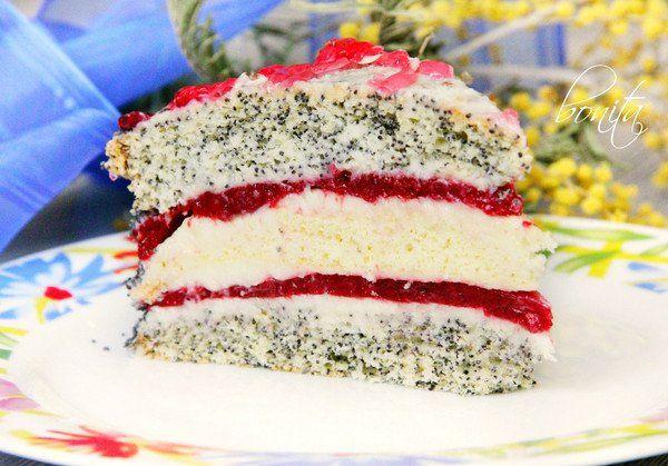 Торт маковый с ванильным бисквитом и клубничным желе, Кулинарные рецепты - 7290507 - Кашалот