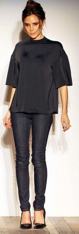 Victoria Beckham: Jeans and shirt – Victoria Beckham Collection