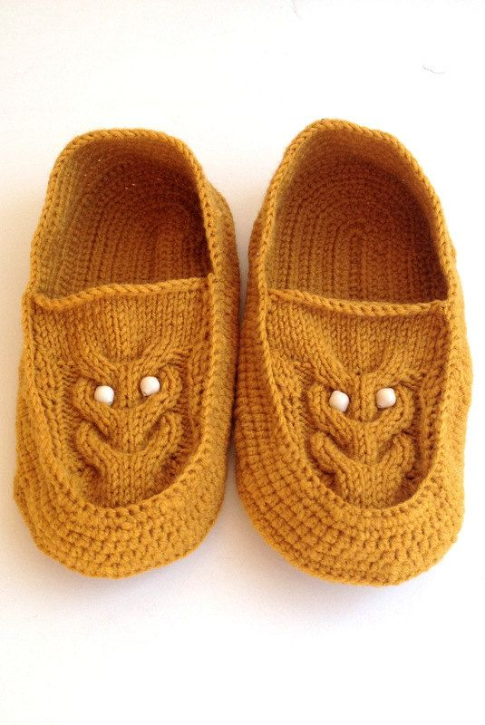 Mustard Knit Owl Slippers Yellow Mustard Knitted Socks Slippers ,Woman Men Crochet Slippers ,Knitted Home Shoes , Gift For Woman House Shoes - 2015