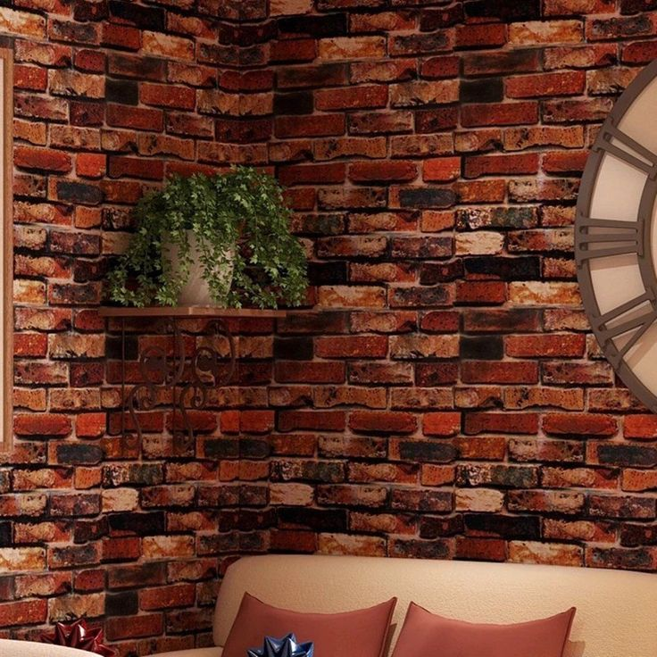3D Red Brick Wallpaper Roll Retro Stone Brick Wall Background Textured NO GLUE #Yancorp #VintageRetro