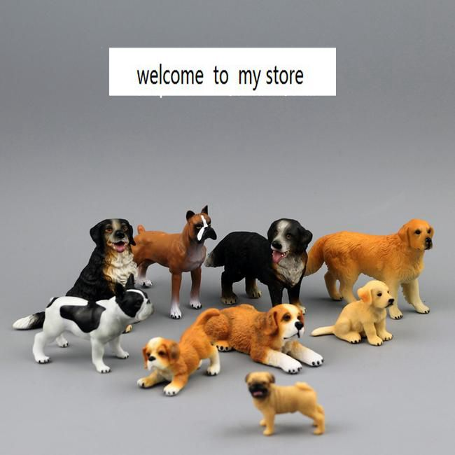 ==> [Free Shipping] Buy Best solid pvc figure model toy gift 9pcs/set Animal Simulation Model French Bulldog Retriever St. Bernard dog boxer dogs Online with LOWEST Price | 32650450235