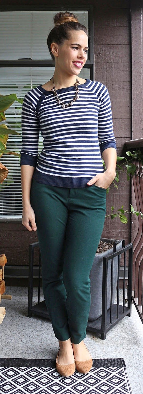 Black t shirt navy pants - Jules In Flats H M Striped Sweater Old Navy Pixie Pants