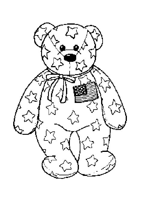 ty coloring pages | Coloring & Activity Pages: Patriotic Beanie Baby Bear Coloring Page