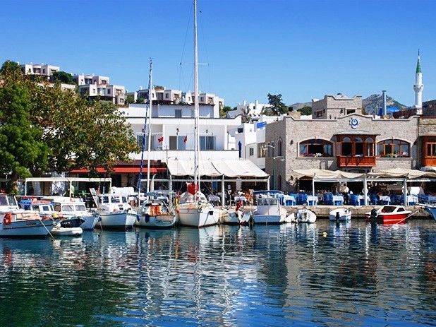 Yalikavak. Turkey - old fishing harbour with new restaurants and bars