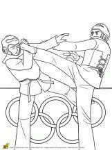 Joueurs de taekwondo à colorier